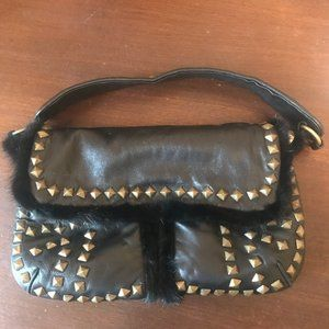 Timmy Woods Beverly Hills Leather Fur Trim purse